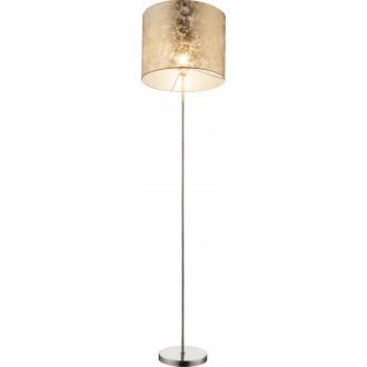 GLOBO 15187S | Amy Globo stojaté svietidlo 160cm prepínač 1x E27 matný nikel, zlatý