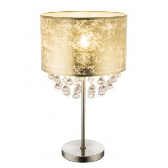 GLOBO 15187T3 | Amy Globo stolové svietidlo 56cm prepínač na vedení 1x E27 matný nikel, zlatý, priesvitné