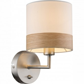 GLOBO 15221W | ChipsyG Globo stenové svietidlo prepínač 1x E14 matný nikel, hnedá, béž