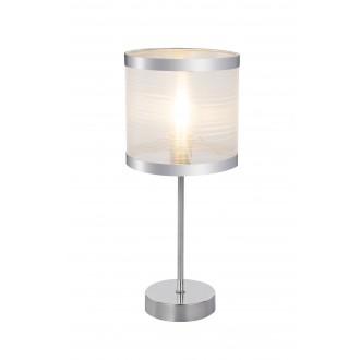GLOBO 15259T | Naxosg Globo stolové svietidlo 37cm prepínač 1x E14 chróm, biela