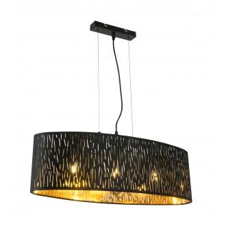 GLOBO 15264H2 | Tuxon-Tarok Globo visiace svietidlo 3x E27 čierna metalíza, zlatý