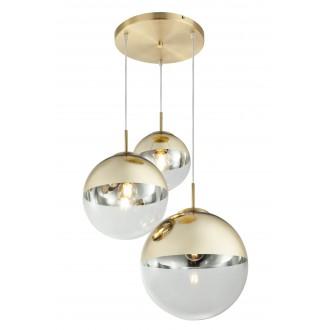 GLOBO 15855-3 | Varus Globo visiace svietidlo 3x E27 mosadz, priesvitné, zlatý