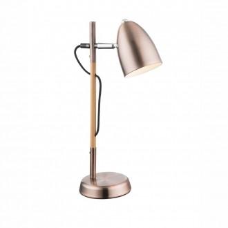 GLOBO 21505C   Tongariro Globo stolové svietidlo 42cm prepínač 1x E14 mosadz, drevo, chróm