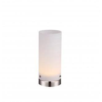 GLOBO 21926 | Cyli Globo stolové svietidlo 20cm prepínač 1x LED 400lm 3000K matný nikel, biela