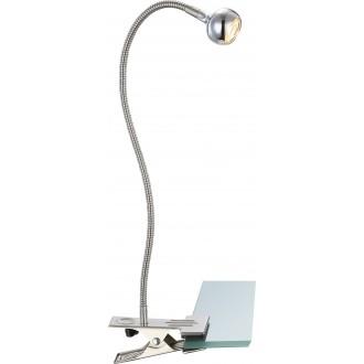 GLOBO 24109K | Serpent Globo štipcové svietidlo prepínač flexibilné 1x LED 150lm 3000K matný nikel, chróm