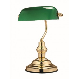 GLOBO 2491 | Antique Globo stolové svietidlo 36cm prepínač 1x E27 zlatý, zelená
