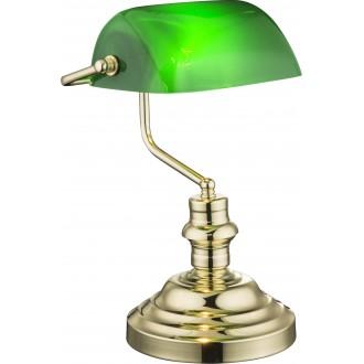 GLOBO 2491K | Antique Globo stolové svietidlo 36cm prepínač 1x E27 mosadz, zelená