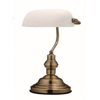 GLOBO 2492 | Antique Globo stolové svietidlo 36cm prepínač 1x E27 antická meď, alabaster