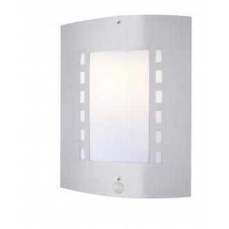 GLOBO 3156S | Orlando Globo stenové svietidlo pohybový senzor 1x E27 IP44 oceľové, opál