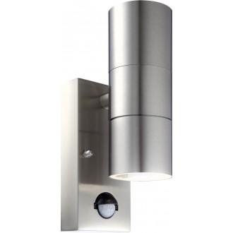GLOBO 3201-2S | Style Globo stenové svietidlo pohybový senzor 2x GU10 IP44 zušľachtená oceľ, nehrdzavejúca oceľ, priesvitné