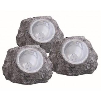 GLOBO 3302-3 | Soglo15 Globo tvar kameňa svietidlo slnečné kolektorové / solárne, 3 dielna súprava 4x LED IP44 sivé