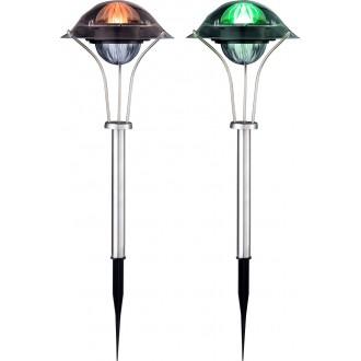 GLOBO 33041-2 | Soglo87 Globo zapichovacie svietidlo slnečné kolektorové / solárne, meniace farbu, 2 dielna súprava 1x LED IP44 zušľachtená oceľ, nehrdzavejúca oceľ, viacferebné