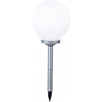 GLOBO 33793 | Soglo83 Globo zapichovacie svietidlo slnečné kolektorové / solárne, meniace farbu 4x LED IP44 strieborný, biela
