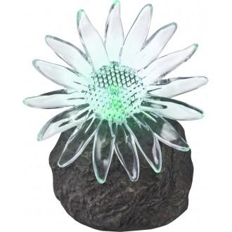 GLOBO 33912 | Soglo85 Globo tvar kameňa svietidlo slnečné kolektorové / solárne, meniace farbu 1x LED IP44 sivé, priesvitné
