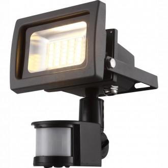 GLOBO 34108S   Radiator_IV Globo svetlomet svietidlo pohybový senzor otočné prvky 1x LED 1250lm 3200K IP44 tmavo sivé, priesvitné