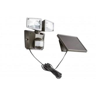 GLOBO 3717S | Solar-G Globo svetlomet svietidlo pohybový senzor slnečné kolektorové / solárne, sklápacie 2x LED 480lm 6500K IP44 antracit
