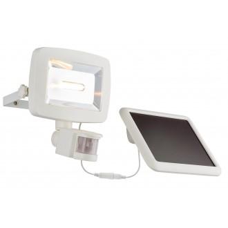 GLOBO 37200S | Solar-G Globo svetlomet svietidlo pohybový senzor slnečné kolektorové / solárne, sklápacie 1x LED 600lm 3500K IP44 biela