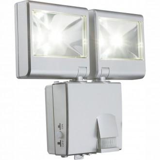 GLOBO 3724S | Solar-G Globo stenové svietidlo pohybový senzor slnečné kolektorové / solárne 2x LED 90lm 5000K IP44 strieborný