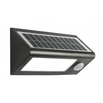 GLOBO 3727S | Solar-G Globo svetlomet svietidlo pohybový senzor slnečné kolektorové / solárne 36x LED 320lm 6500K IP65 antracit