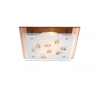 GLOBO 40412-2 | Ayana Globo stropné svietidlo 2x E27 chróm, biela, jantárové
