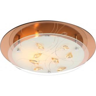 GLOBO 40413-2 | Ayana Globo stropné svietidlo 2x E27 chróm, biela metalíza, jantárové