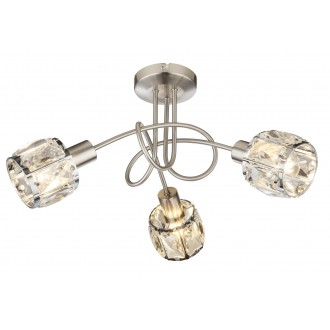 GLOBO 54356-3   Kris-Indiana-Mero Globo stropné svietidlo 3x E14 chróm, matný nikel, priesvitné