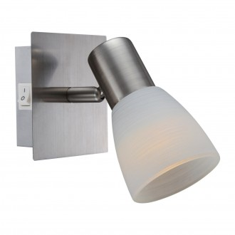 GLOBO 54534-1 | Parry-Raider Globo stenové svietidlo prepínač otáčateľný svetelný zdroj 1x E14 400lm 3000K matný nikel, biela