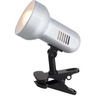 GLOBO 5497 | Basic-III Globo štipcové svietidlo prepínač na vedení 1x E27 čierna, strieborný