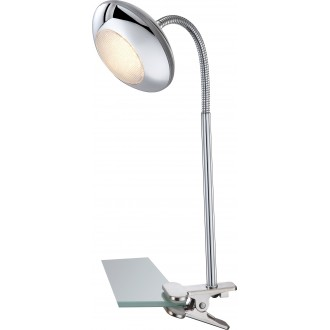 GLOBO 56217-1K   Gilles Globo štipcové svietidlo prepínač flexibilné 1x LED 350lm 3000K chróm, opál