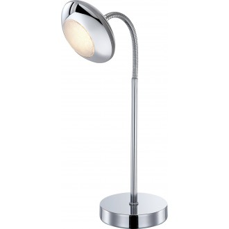 GLOBO 56217-1T   Gilles Globo stolové svietidlo prepínač flexibilné 1x LED 350lm 3000K chróm, opál
