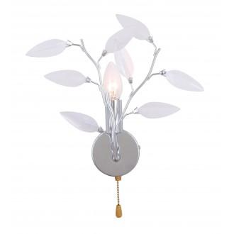 GLOBO 63160-1W | Vida Globo rameno stenové svietidlo prepínač na ťah 1x E14 chróm, priesvitné, biela