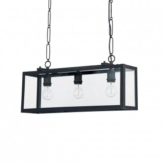 IDEAL LUX 092881 | Igor-IL Ideal Lux visiace svietidlo - IGOR SP3 NERO - 3x E27 matná čierna, priesvitné
