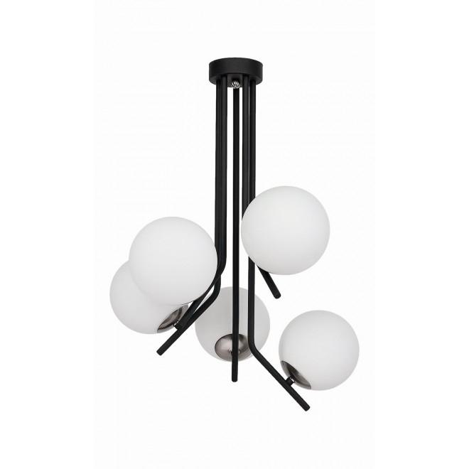 JUPITER 1737 TI 5 CZ/NI | Tim Jupiter stropné svietidlo 5x E14 nikel, čierna, biela