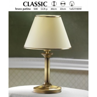 JUPITER 508 P.CLN | ClassicJ Jupiter stolové svietidlo 44cm prepínač na vedení 1x E27 patinovaná meď, krémové