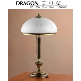 JUPITER 786 DR G | Dragon Jupiter stolové svietidlo 53cm prepínač na vedení 2x E14 patinovaná meď, biela