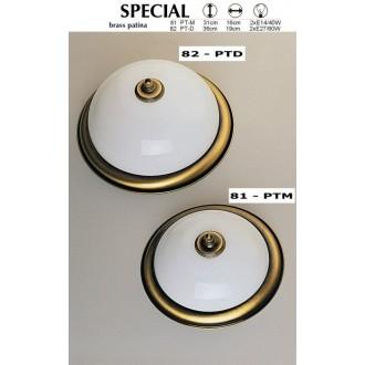 JUPITER 82 PT-D | Plafon Jupiter stropné svietidlo 2x E27 patinovaná meď, biela