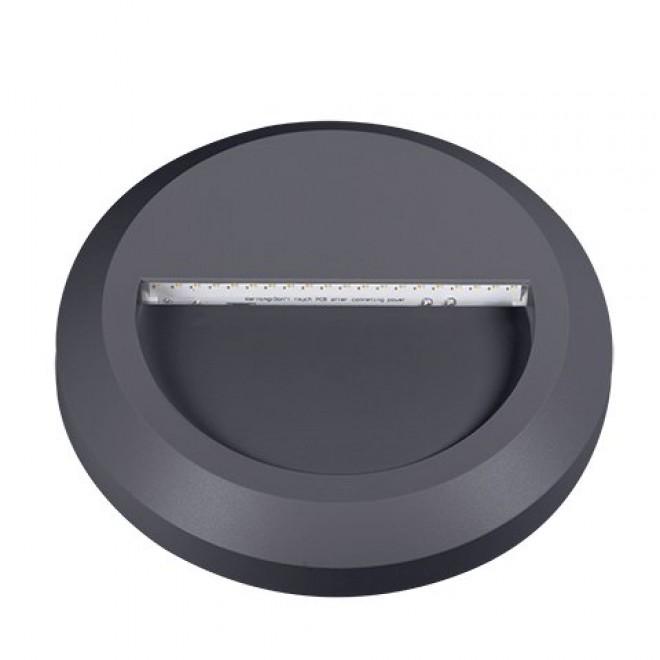KANLUX 22771 | Onstar-Croto Kanlux stenové svietidlo kruhový 1x LED 30lm 6500K IP65 IK09 sivé