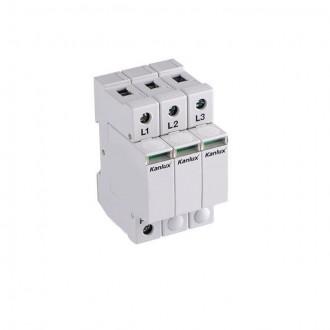 KANLUX 23136 | Kanlux modul na odmedzenie vysokého napätia DIN35 modul, T1+T2/B+C, 150kA - 3P svetlo šedá
