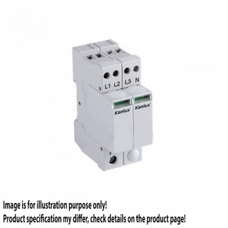 KANLUX 23137 | Kanlux modul na odmedzenie vysokého napätia DIN35 modul, T1+T2/B+C, 200kA, 3P+N svetlo šedá