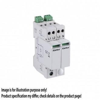 KANLUX 23138 | Kanlux modul na odmedzenie vysokého napätia DIN35 modul, T1+T2/B+C, 200kA - 3P+N svetlo šedá