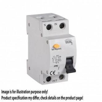 KANLUX 23217 | Kanlux prúdový chránič (FI relé) + nadprúdová ochrana 16A DIN35 modul, 2P C AC svetlo šedá, čierna, žltá