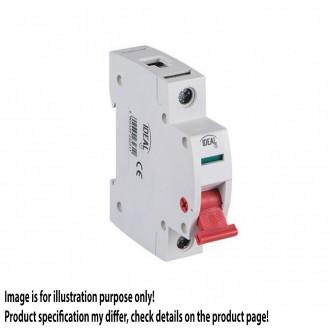 KANLUX 23230 | Kanlux hlavný vypínač DIN35 modul, 1 - 25A svetlo šedá, červená