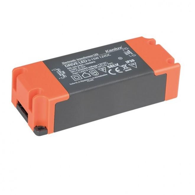 KANLUX 23860   Kanlux LED napájací zdroj 12V DC 0-15W 1,25A obdĺžnik sivé, pomaranč