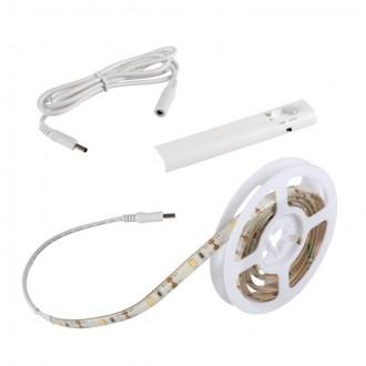 KANLUX 26323 | Kanlux-LS-Set Kanlux LED pásy svietidlo pohybový senzor, prepínač batérie/akumulátorové 1x LED 180lm 3000-3900K IP54/20 biela