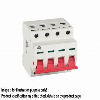 KANLUX 27250 | Kanlux hlavný vypínač DIN35 modul, 4 - 60A svetlo šedá, červená