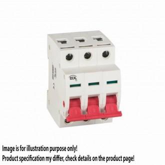 KANLUX 27251 | Kanlux hlavný vypínač DIN35 modul, 3 - 25A svetlo šedá, červená
