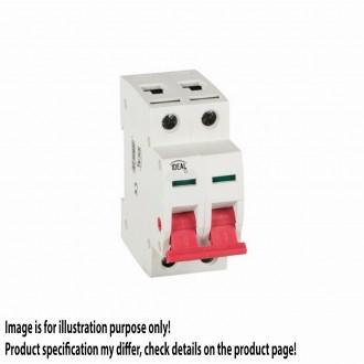 KANLUX 27254 | Kanlux hlavný vypínač DIN35 modul, 2 - 25A svetlo šedá, červená