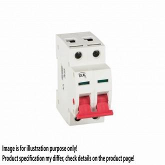 KANLUX 27255 | Kanlux hlavný vypínač DIN35 modul, 2 - 40A svetlo šedá, červená