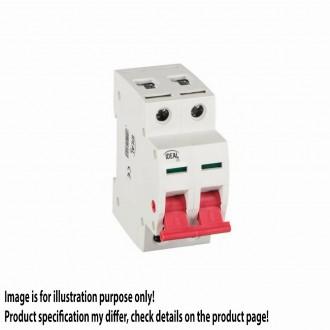 KANLUX 27256 | Kanlux hlavný vypínač DIN35 modul, 2 - 63A svetlo šedá, červená