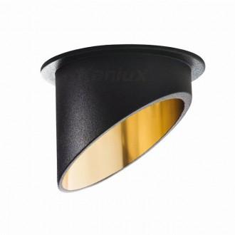 KANLUX 27324   Spag Kanlux zabudovateľné svietidlo kruhový bez objímky Ø68mm 1x MR16 / GU5.3 / GU10 čierna, zlatý